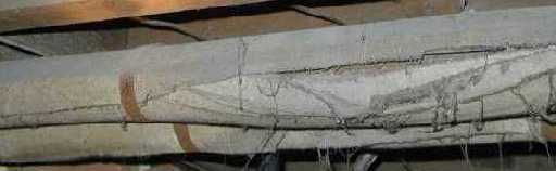 [picture of asbestos containing pipe insulation]
